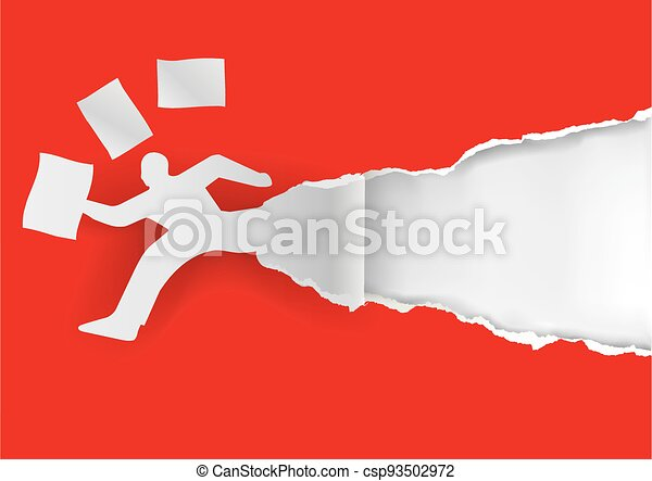 Businessman running in a hurry with papers. - csp93502972