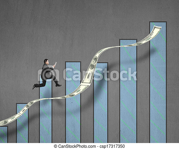 businessman running on growth money trend with chart - csp17317350