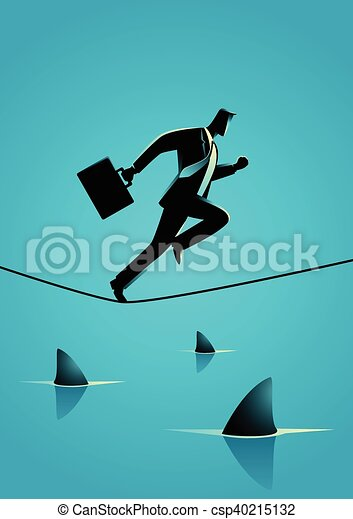 Businessman running on rope with sharks underneath - csp40215132
