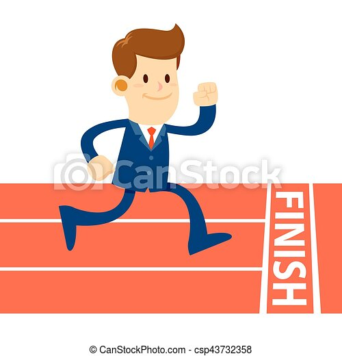 Businessman Running To Finish In Track - csp43732358