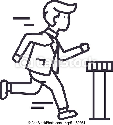 businessman running to finish vector line icon sign clip art rh canstockphoto com