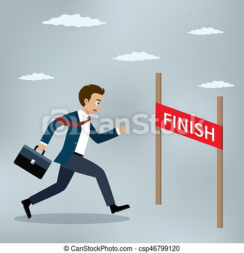 Businessman running to the finish line. - csp46799120