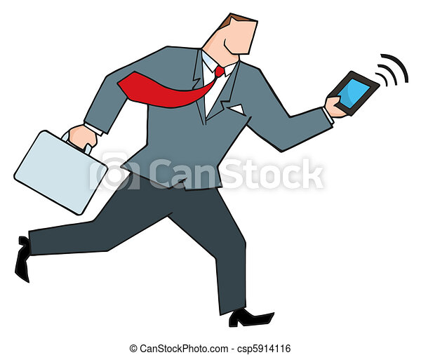 Businessman Running With A Tablet  - csp5914116