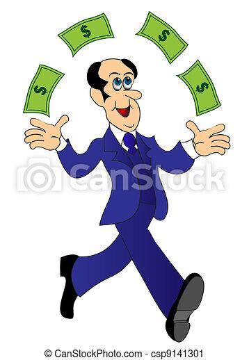 businessman runs and throws money - csp9141301