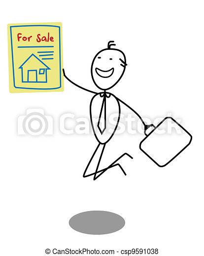 Businessman Sale House  - csp9591038