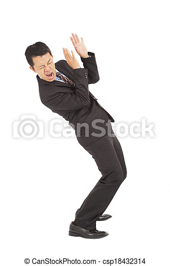 businessman scared expression and bend down - csp18432314