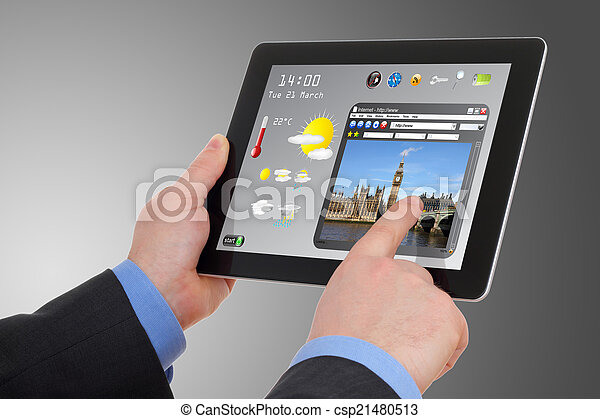 Businessman searching a tourism information on tablet - csp21480513