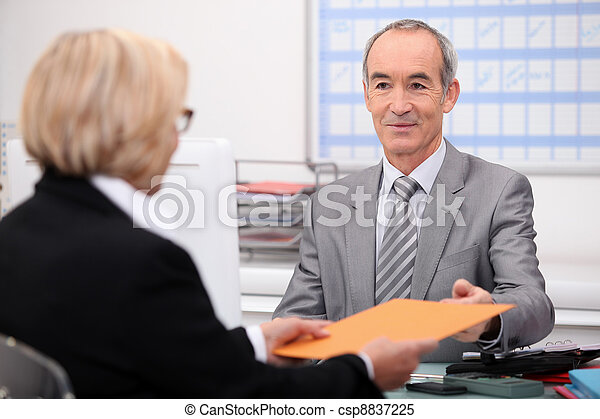 Businessman seeing a client - csp8837225