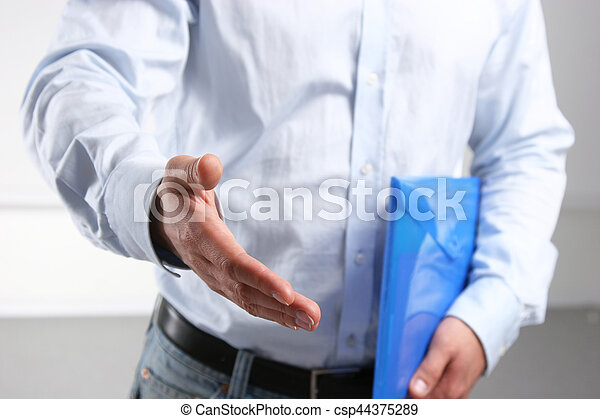 Businessman shaking hand to partner with succesful deal - csp44375289