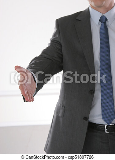 Businessman shaking hand to partner with succesful deal - csp51807726