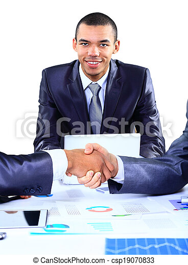 businessman shaking hands to seal a deal with his partner - csp19070833