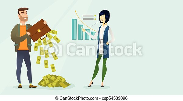 Businessman shaking out money from his briefcase. - csp54533096
