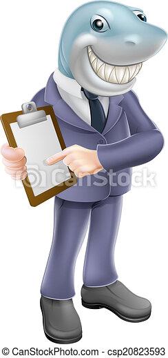 Businessman shark contract - csp20823593