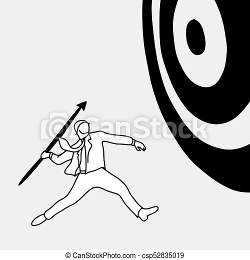 Businessman shooting the big target with spear vector illustration doodle sketch hand drawn with black lines isolated on gray background dilemma business