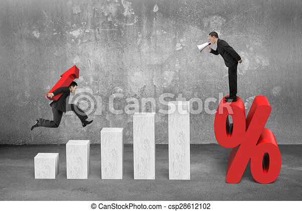 Businessman shouting on percentage mark another carrying arrow up - csp28612102