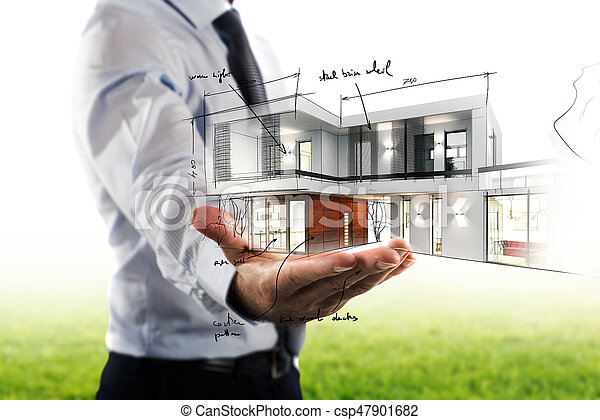 Businessman showing a modern office project - csp47901682