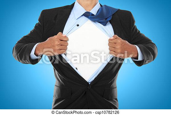 Businessman showing a superhero suit - csp10782126