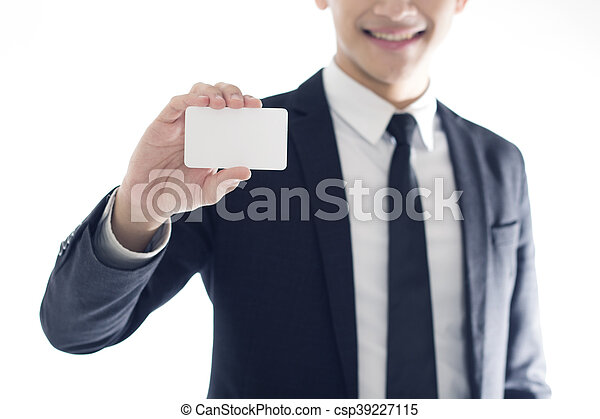 businessman showing business card - csp39227115