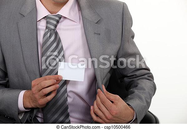businessman showing business card - csp10500466
