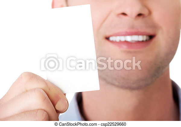 Businessman showing business card - csp22529660