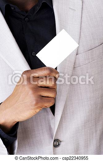Businessman showing business card - csp22340955