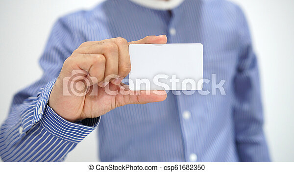 Businessman showing business card. - csp61682350