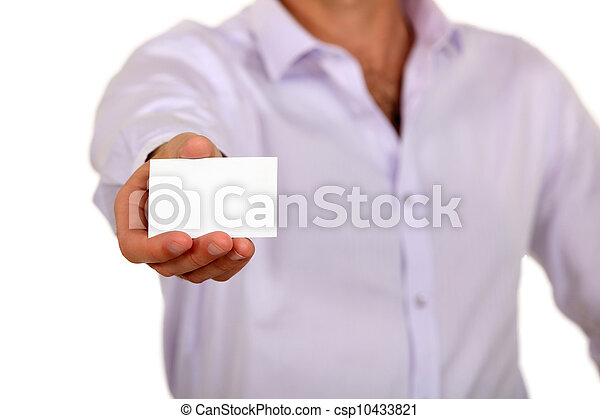 businessman showing business card - csp10433821