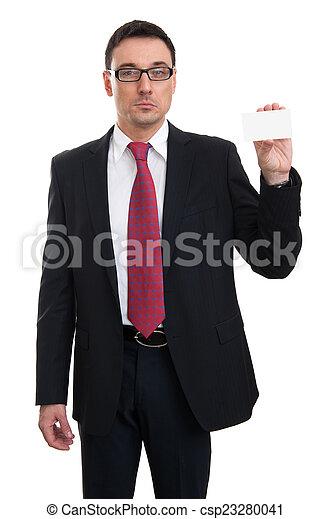 businessman showing business card - csp23280041