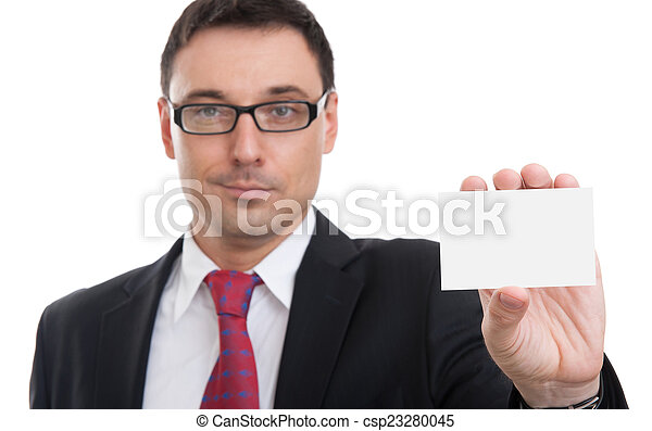 businessman showing business card - csp23280045
