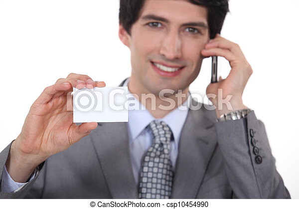 businessman showing business card - csp10454990
