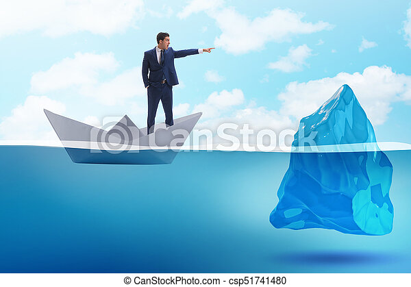 BUsinessman showing directions to avoid problems as iceberg - csp51741480