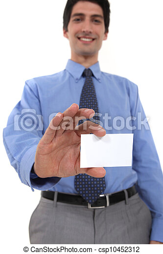 Businessman showing his business card. - csp10452312