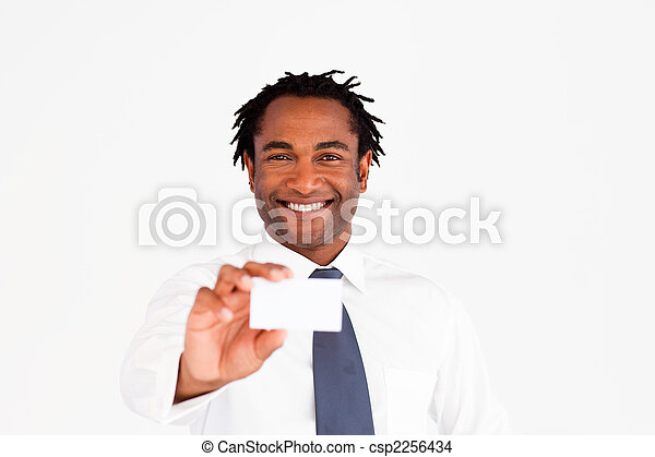 Businessman showing his business card - csp2256434