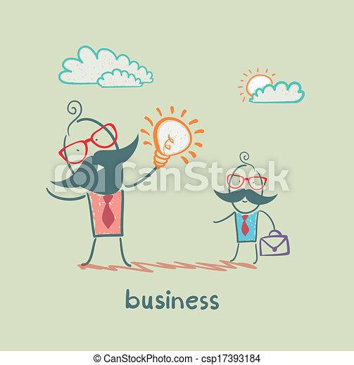businessman showing idea of ??a subordinate - csp17393184