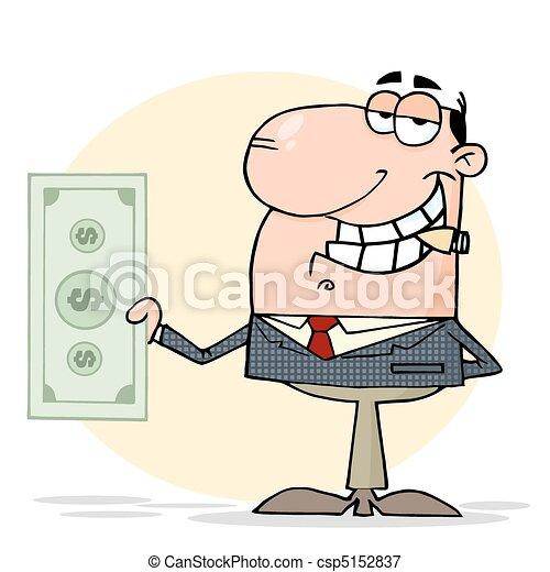 Businessman Shows Big Dollar  - csp5152837