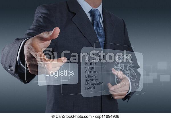 businessman shows logistics diagram as concept - csp11894906