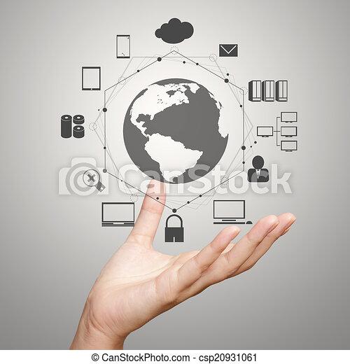 businessman shows modern technology  - csp20931061