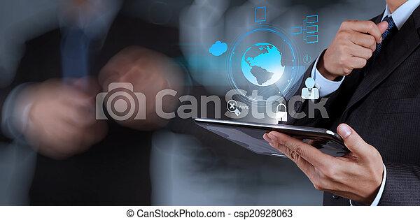 businessman shows modern technology - csp20928063