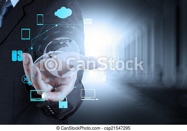 businessman shows modern technology - csp21547295