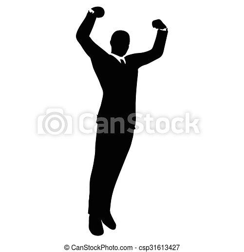 vector image businessman silhouette in gorilla pose vector
