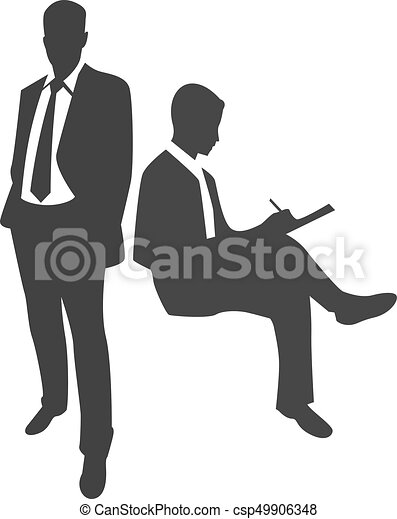 businessman silhouette standing and writing