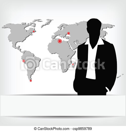 Businessman silhouette with world map vector illustration eps businessman silhouette with world map csp9859789 gumiabroncs Gallery