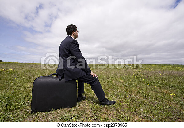 businessman sit in his baggage  - csp2378965