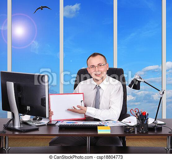 businessman sitting in office - csp18804773