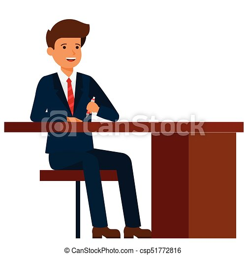 businessman sitting on office table  cartoon flat vector illustration concept on isolated white background - csp51772816