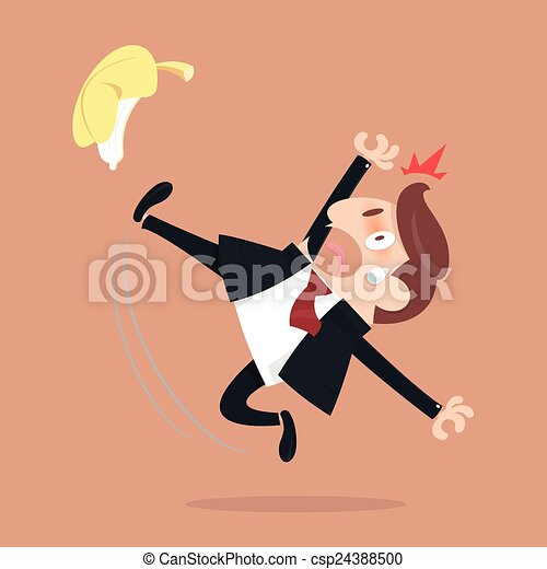 Businessman slipping and falling from a banana peel - csp24388500