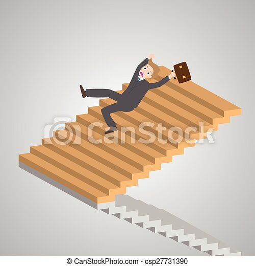 businessman slipping down on the stairs, vector, illustration - csp27731390