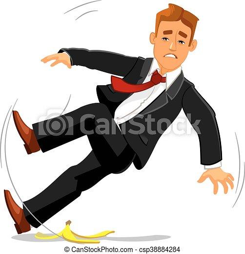 Businessman slips on banana peel and falls - csp38884284