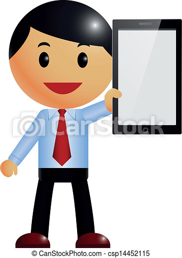 vector illustration of businessman smart phone vector clip art rh canstockphoto com business man cliparts sad businessman clipart