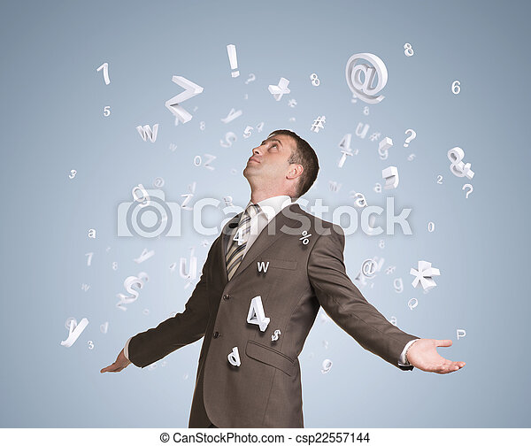 Businessman spread his arms. Figures and letters fall from above - csp22557144